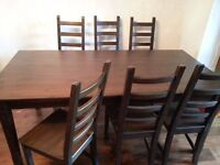 Wooden dining table with 6 chairs - Ikea