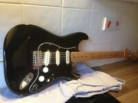 Black / Maple Mexican Fender Stratocaster electric guitar in need of TLC Noiseless pickups