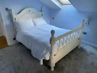 Solid wood shabby chic double bed with 2000 pocket sprung mattress