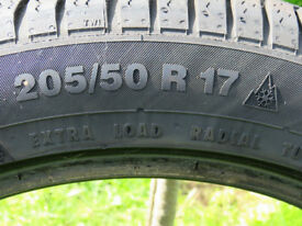 4 off Winter Tyres partial used. 205/50 R17