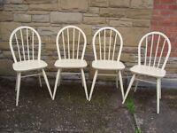 Shabby Chic Farmhouse Country 4 Ercol 1960's Chairs In Farrow & Ball Cream No 67