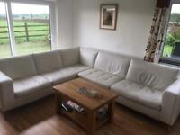 Italian cream leather corner sofa settee used NOW IN BARNOLDSWICK