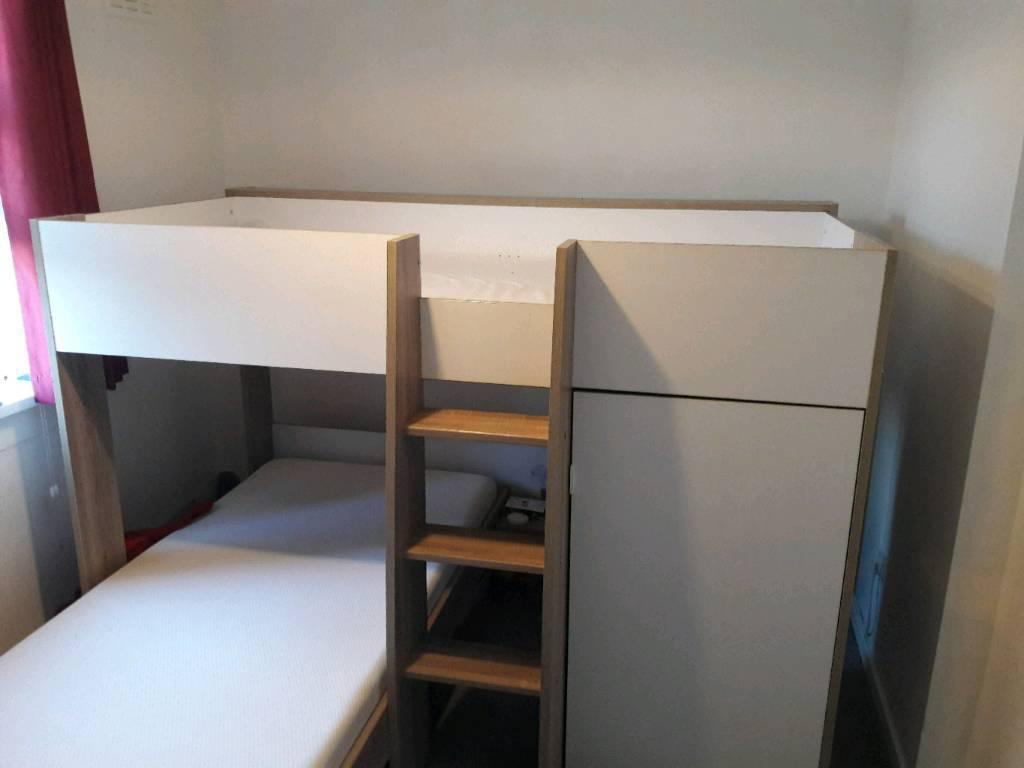 L shape single bunk beds