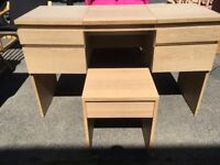 LOVELY light beech colour dressing table with 4 drawers lift up mirror and stool vgc ,apart from you