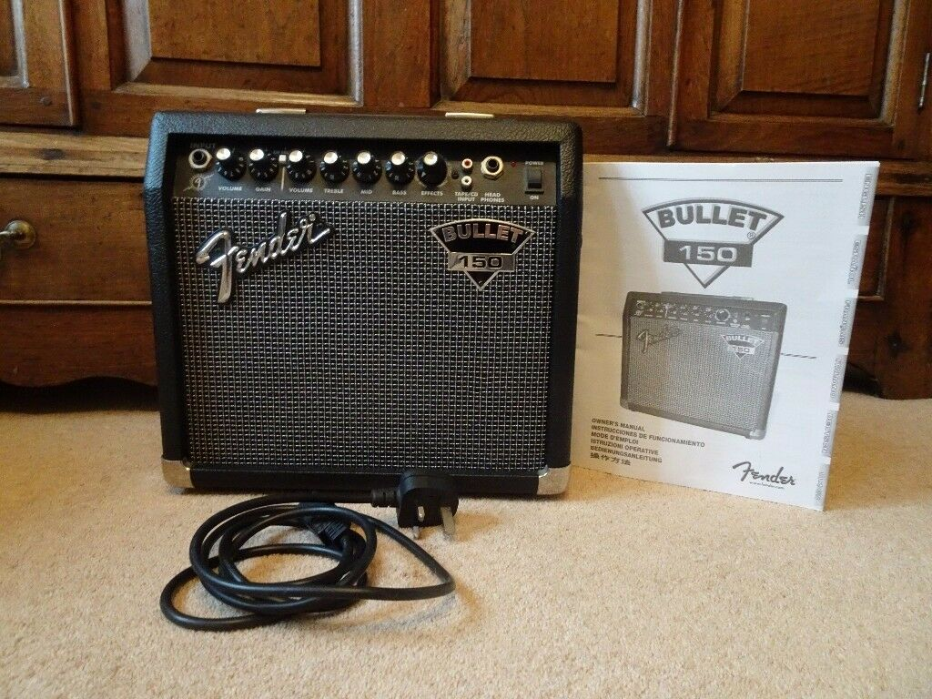 Fender Bullet 150 Amplifier - 15 Watt, Digital Effects, Headphone Jack, Line / iPhone Input, Manual