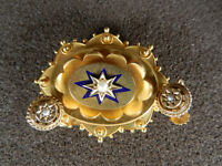 Victorian Mourning Brooch 9ct Gold, Seed Pearl & Blue Enamel) & Ear-rings