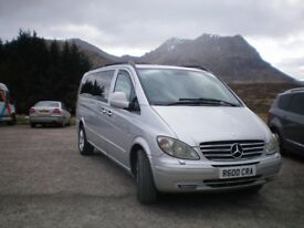 Driver with smart, clean and comfortable eight seat Mercedes vito available for all work.