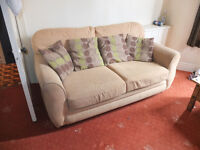 free Two X 2 seater sofas, pale green with cushions
