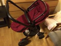 Mothercare Orb pram/pushchair with cosytoe, rain cover and car seat adaptors