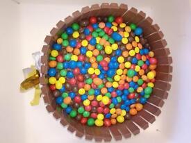 Freshly baked M&M/KitKat Chocolate Cake