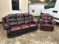Chesterfield Style Ox Blood Leather 3 piece Sofa and 1 Chair