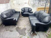 Real Black Leather Sofas