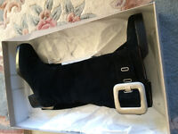 Nearly new - lady's black suede keen high boots, UK size 36.5
