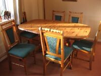 Pine extending table with 6 chairs