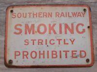Southern Railway SMOKING STRICTLY PROHIBITED vintage mancave railway enamel sign