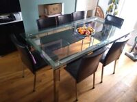 Glass Dining Room Table (extends to seat 10 comfortably) , Matching Side Table & Real Leather Chairs
