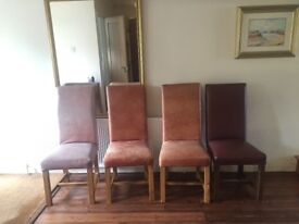 Real leather solid pining chairs
