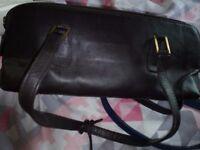 Brown leather shoulder bag. pink leather handbag