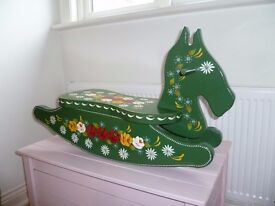 Planter in the form of a rocking horse hand painted