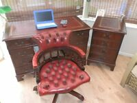 Antique Style Leather Top Desk, with 2 drawer filing cabinet & Chesterfield Captain Chair