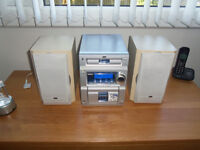 jvc midi hifi 50w nice good all round system cd radio tape has lead to plug in mp3 player.