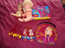 Bundle of Girls Toys including 2 dolls, dressing up shoes and frozen makeup bag