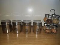 8 Jar Stainless Spice Rack & Seasoning New & 4 Glass Stainless Jars