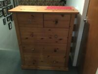 Antique pine chest of drawers.