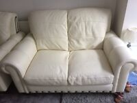 FOR SALE DFS aspen white leather 2 seater/2 armchairs/2 foot stroage stool