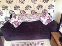 2 x Harvey's Plum 3 seater sofa