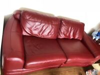 Leather corner sofa and and double with foot stool storage