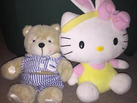 LULLABY SINGING TOMY TEDDY AND HELLO KITTY TEDDY SET