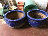 Pair of large blue garden pots