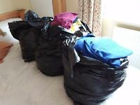 3 large black bags full of clothes sizes 16 to 20