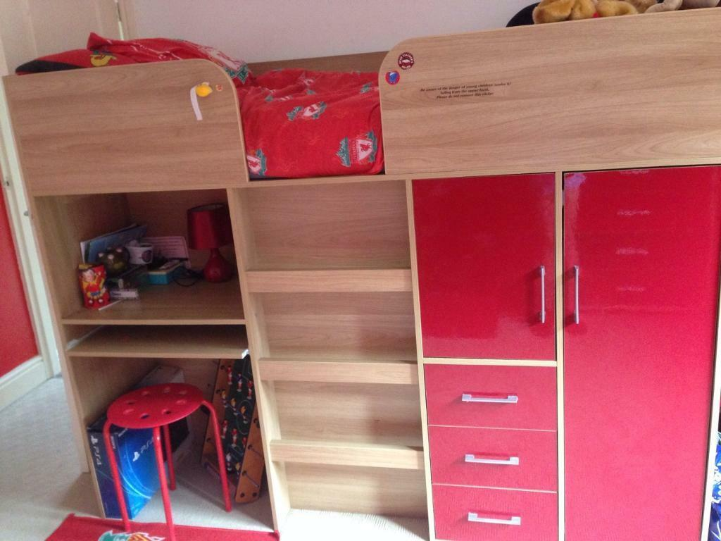 Kids Cabin Bed With Built In Desk Wardrobe And Draws In