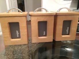 Wooden sugar, tea and coffee jars