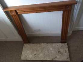 Small wooden fire surround and marble heartg