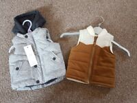 Baby boys 3-6 months gilets/body warmers unworn with tags
