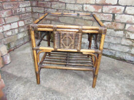 DARO occasional table - Rattan/Cane/Bamboo style - glass top + low level shelf