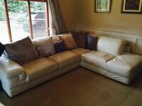 Italian leather white corner suite for sale with Italian leather recliner and foot stool