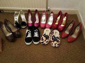 7 pairs of shoes and 1 pair of slipper