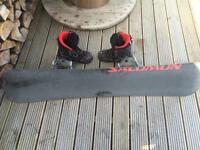 Snowboard boots and bindings, size 9 boots