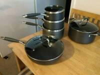 Kuhn Rikon pan set non stick 3 pans, wok and stockpot