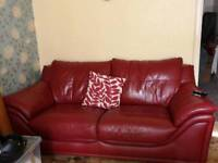 Red real leather large 2 & chair