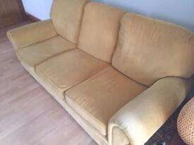 3 seater gold chenille sofa