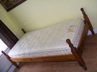 CAN DELIVER - BEAUTIFUL SOLID PINE SINGLE BED WITH HARRISON MATTRESS IN VERY GOOD CONDITION