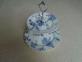 Cake stand, 2 tier, blue and white china