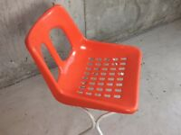 1970's mid century outdoors painted metal chair with bright orange seat