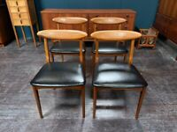 4x Teak Dining Chairs with Black Seat Pads by Greaves & Thomas. Retro Vintage Mid Century 1960s
