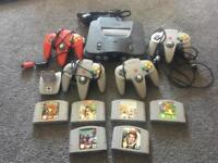Retro gaming! Nintendo 64, 4 controllers and games!